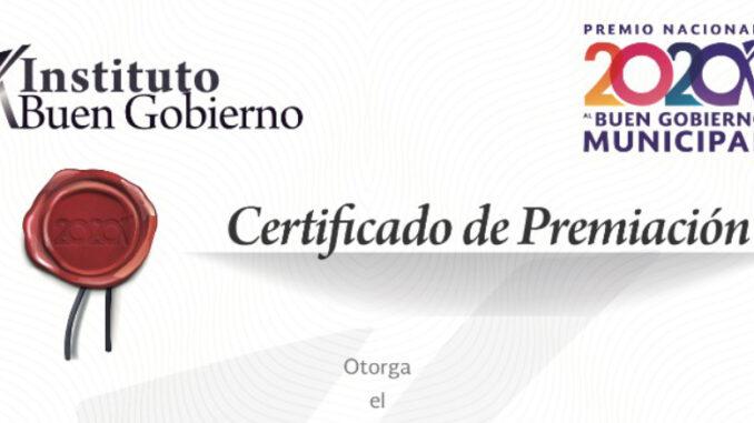 Por segunda ocasión el Gobierno Municipal es reconocido con este premio nacional